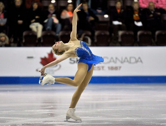 Gold of the U.S. competes in the ladies free program during the Skate Canada International figure skating competition in Windsor