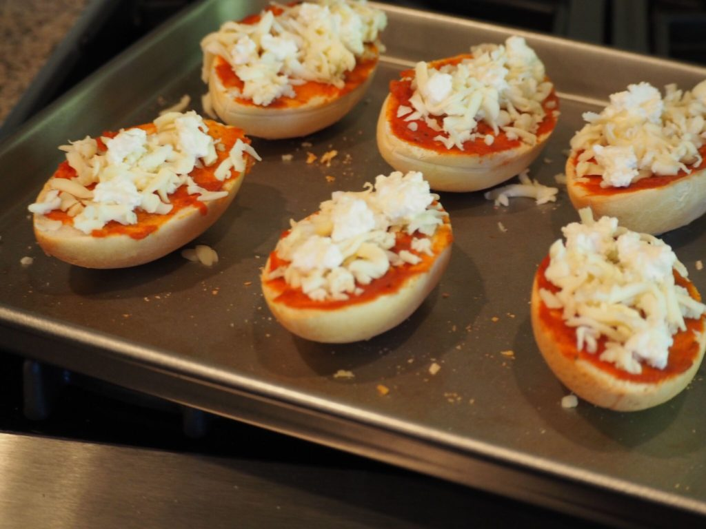 Mini football pizzas